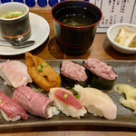 水戸駅北口 肉寿司 - 「肉寿司盛り合わせ」@900(税別) 茶碗蒸し、お椀付き