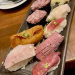 水戸駅北口 肉寿司 - 肉寿司は、ヤマサ醤油の肉寿司専用の醤油で頂きます。