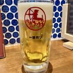 水戸駅北口 肉寿司 - とりあえず「生ビール」@390(税別)