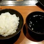 JA全農ミートフーズ直営 焼肉ぴゅあ - ライス、スープ