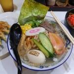 らーめん 有頂天 EVOLUTION - 冷たいしおラーメン(期間限定)+自家製餃子(6個)+牛丼