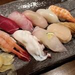 金寿し - にぎり寿司10貫御膳のにぎり