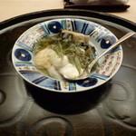 懐石料理 桝田 - 蒸しあわび、ジュンサイ