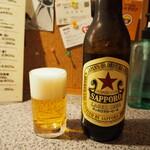 天満市場 奴寿し - 瓶ビール(大瓶、サッポロ赤星)