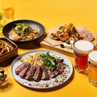 隣接のレストランのコースディナーをビアテラスで!