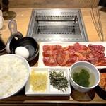 焼肉ライク - ミスジ&ハラミセット200g(1,280円)+TKGセット(180円)