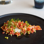 レストラン オオツ - 酒田天然車海老 夏野菜(ズッキーニ、トマト、ケッパー、ディル)のレモンオイルと白ワインビネガー和え
