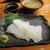 魚虎 - 料理写真:芦屋ヤリイカ刺 1200円、あかもくポンズ(岩屋産) 380円