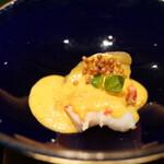 野嵯和 - ボタン海老、マルナス揚げ浸し、うにと卵を蒸し揚げ和えバター、オクラの種