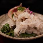 京懐石 八泉 - 鳥貝、鱧の焼き霜、万願寺唐辛子