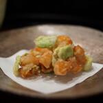 京懐石 八泉 - 青柳の貝柱、空豆のかき揚げ