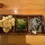 うっちゃり食堂 - お通し的 ツナマカサラ、中華的なブロッコリー、春雨サラダ
