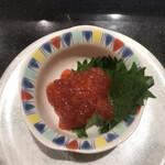 産直グルメ回転寿司 函太郎Tokyo - 紅鮭筋子385円。シャリなしでお願いしました。醤油漬けの筋子は、箸休めにも良いですね。とても美味しかったです(╹◡╹)