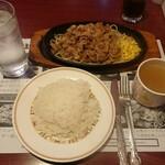 グリルハンター - 鉄板牛肉パスタ(ライス、スープ付き)¥650+税