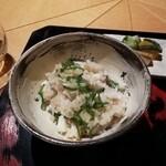 アマネムダイニング - 取り分けてもらった釜炊き鯛飯 アマネムスタイル
