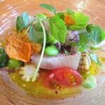 132885169 - シマアジ のカルパッチョ  野菜いろいろ