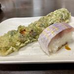 132890286 - イトヨリの寿司 ちくわの磯辺揚げ