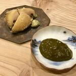 132902464 - 鮑の天ぷら 肝ソース
