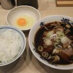 西町大喜 - 中華そば(並)・ライスセット+生たまご¥1000+70