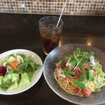 ペスカッペ - 鶏むね肉と枝豆、フレッシュトマトの冷製パスタ・プリモセット(サラダ・ドリンク)