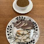 Rejon - 鴨胸肉の蜂蜜風味             サバのテリーヌ ディエップ風             ホテル仕込みカレー