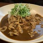 カレーハウスゴッド - 新メニュー!豚しゃぶと水菜の蜂蜜梅カレー。蜂蜜漬けの南高梅がルーに入ったさっぱり夏カレーです。