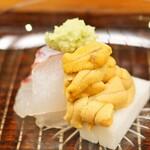 竹屋町 三多 - 明石産の鯛と福井県小浜産の赤雲丹