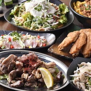 充実の宴会コース3000円~◎コスパ抜群で自慢の鶏料理を堪能