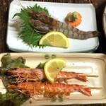 波路 - 車海老刺身と塩焼き