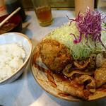 とんかつ三太 - 豚しょうが焼定食+メンチ1枚