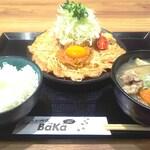 しょうが焼きBaKa - 桃豚の上ロースしょうが焼き&奥久慈卵の黄身添え定食