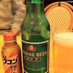 中華屋台 磊 - 日本の生ビールや有名な青島ビールもありますが、今回は、初めての燕京ビール(エンキョウビール)にしました。