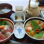 磯らぎ - 磯らぎ海鮮丼と選べる二色丼セット(博多)