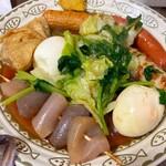 おでん東大 - ウインナー、ごぼう天、卵、こんにゃく、葉野菜、ちくわ、巾着