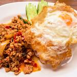 サバイサバイ タイ屋台 - 鶏肉のバジルご飯 辛め (690円;大盛同価格)