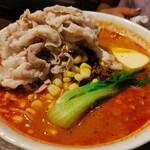 ヌードルダイニング 道麺 - バターコーン担々麺、豚しゃぶトッピング