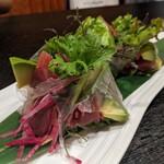 Mangetsuibukiyokohamatsuruyachou - 鎌倉野菜と鰻の生春巻き