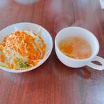 シバ - 料理写真:サラダとスープ