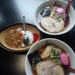 らーめん○美 春鶴 - 料理写真:醤油ラーメン 700円 + ラーメン+ミニカレーセット 900円