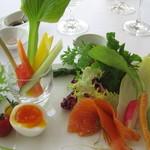 ガーデンレストラン - バーニャカウダ。野菜が旨い!