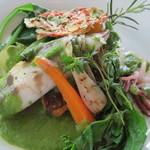 ガーデンレストラン - 鯛の菜の花ソース。ヤリイカ添え
