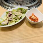 satsumasanchokusumibiyakinikuushikai - サラダ+キムチ
