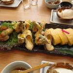 13343598 - ねぎ穴子天ぷら・湯葉チーズ巻き・豆乳入り出汁巻き