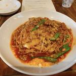 アドハビット - 挽き肉と絹さやのボロネーゼソーススパゲティ
