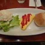 Euro Cafe - モーニング(オムレツ、サラダ、ミニパン):650円
