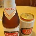 サイゴン・レストラン - やっぱりビールはベトナムの333(バーバーバー、500円)とサイゴン(600円)