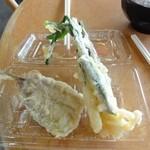 13353985 - イワシの天ぷら50円 みょうがたけの天ぷら50円(菜の花)