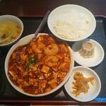 チンタンタン - エビ入り麻婆豆腐定食