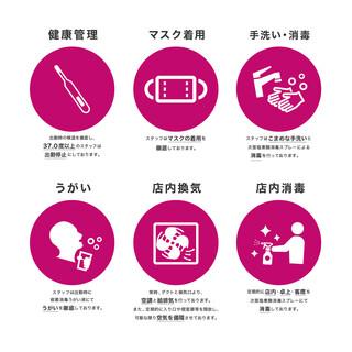 感染防止対策として下記の取り組みを行っております