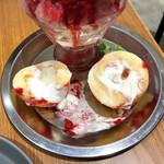 堀内果実園 - カットしたらクリームが挟んでありました。